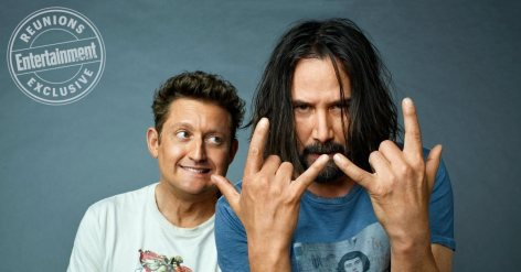Alex Winter, Keanu Reeves, Chris Matheson and Ed Solomon photographed by Peggy Sirota exclusively for EW's Bill & Ted Reunion on March 14th 2018 in Los Angeles CA